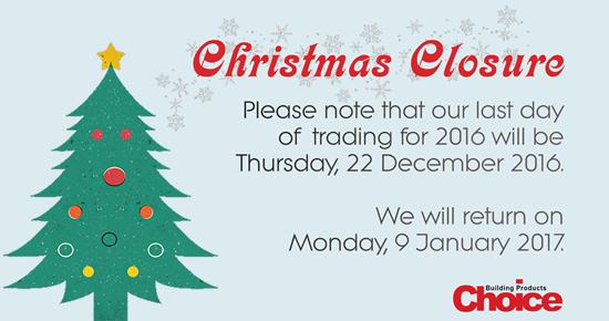 Christmas Closure Blog